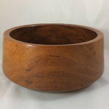 "Vintage Teak Wood Bowl 8"" Wide Wooden Round Dish"