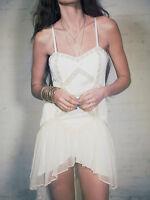 140130 NWT $250 Free People Lace Lattice Embellished High Low Ivory Dress S 6 US
