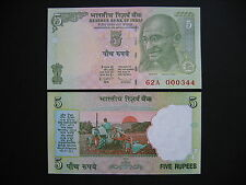 INDIA  5 Rupees 2009 Low Serial number: 62A 000xxx Letter E (P94A)  UNC