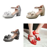 Womens Bowknot Ankle Strap Block Heels Round Toe Buckle Pumps Casual Shoes