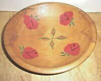 Antique Wooden Bowl with Hand Painted Roses