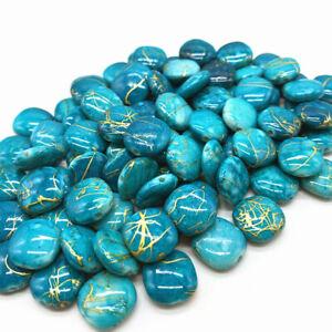 100 x Perlen Acryl Blau Gold Zierperlen Zwischenperle DIY 12x5mm groß Aktion