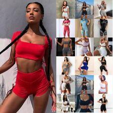 Womens Sports/Gym/Run/Yoga Suit Sleeveless Crop Top Shorts Tracksuit Set 2Pcs UK