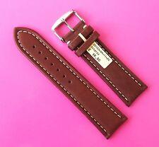 Uhrenarmband Leder 24mm glatt braun weiße Naht Dornschließe 24/22 Ontario Rece
