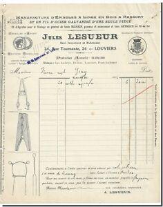 Manufacture D' épingles à Linges en Bois - Jules LESUEUR - LOUVIERS 1924