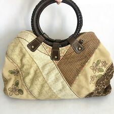 Fossil Handbag Floral Canvas Purse Round Leather Braided Handle Patch Work EUC