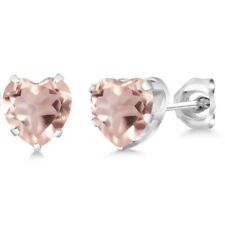 1.40 Ct Heart Shape 6mm Rose Rose Quartz 925 Sterling Silver Stud Earrings