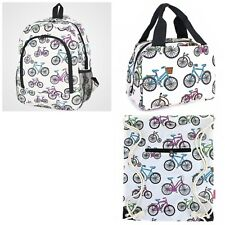 Girl'sBackpack Lunch Bag Drawstring Bag 3 Pce Set White Multi Color Bicycles Nwt