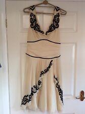 Temperley Mainline Cream Silk Chiffon Dress Black Bead Detail Size 10