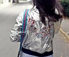 ZARA Silver Embroidered Back Bomber Jacket Large L