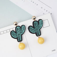 Lovely Cactus Shape Bead Ball Pendants Drop Earrings Handmade Embroidery Jewelry