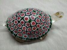 Rare  Murano art glass green millefiori gold foil turtle figurine paperweight