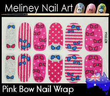Pink Bow tie Full Cover Glitter Nail Art Wraps Stickers Pattern Stripes
