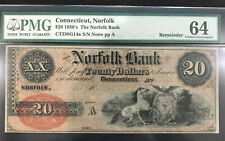 Norfolk, CT- Norfolk Bank $20 G14a Remainder PMG 64 Choice UNC