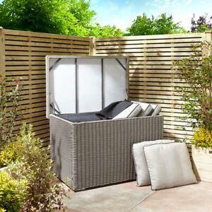 Prestbury Cushion Storage Box Rattan Style in Natural Stone Weave Large