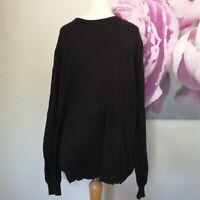 M&S Collezione Mens Black Cotton Cashmere Round Neck Long Sleeve Jumper Size L