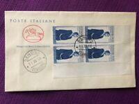 "FDC Italia Repubblica CAVALLINO 1958 ""100° Nascita Eleonora Duse"" QUARTINA"