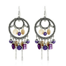 Fashion Women Beads Dangle Jewelry Hook Earrings Chain Ear Stud Tassel