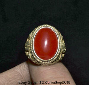 """1.2"""" Old Chinese Silver Inlay Red Gem Dynasty Buddha Face finger Ring Rings"""