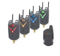 4 x digital wireless bite alarms & Receiver, case, batts, jacks, snag bars, LED