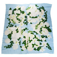 Authentic CHANEL Logos XL Scarf Handkerchief 100% Silk Blue Accessory 08EQ646