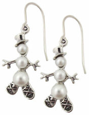Sterling Silver Snowshoe Snowman Pearl Earrings French Hook Holiday Jewelry