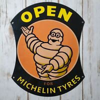 VINTAGE MICHELIN PORCELAIN METAL GAS & OIL SIGN OPEN MICHELIN MAN TYRES TIREE!!