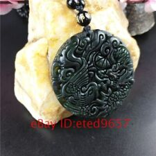 Necklace Dragon Phoenix Pendant Jade Natural Black Jewelry Amulet Obsidian Gifts