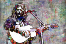 Glenn Frey of The Eagles Throw-back Tribute 12x18in Poster Art Free Shipping