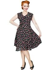 NWT Collectif Violet Cherry Print Swing Dress Pin Up Retro Rockabilly SZ 10 VLV