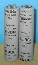 + 2 Rubycon Photo-Flash Capacitors 600uf @ 360V 600mfd @ 360VDC Free Shipping