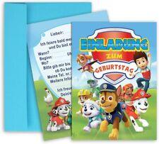 Paw Patrol Einladungskarten 8 Stück Einladungen + 8 Stück blaue Umschlägen