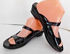 Women's Dansko Size 9.5 Open Toe Sandals Black Leather Buckle Mules Slides