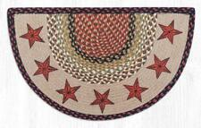 """COUNTRY PRINTED SLICE BRAIDED JUTE AREA RUG 18""""X29"""" By EARTH RUGS--BARN STARS"""