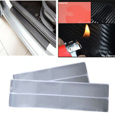 4xAnti-kick Car Door Plate Door Sill Scuff Plates Car Sticker Carbon Look Silver