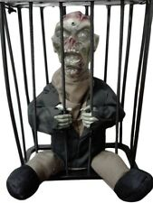 Animated Caged Zombie Hanging Shaking Talking Lite Up Halloween Decoration Prop