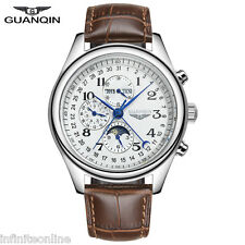 GUANQIN Auto Mechanical Watch Genuine Leather Business Date Analog Wristwatch