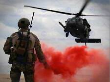 WAR AIR FORCE TRANSPORT HELICOPTER CHOPPER LANDING FLARE SMOKE RED PRINT BB3331B