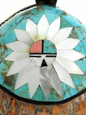 Navajo Sterling Silver Turquoise Mother Pearl Inlay Sun Chief Pendant Necklace
