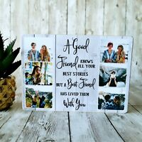 Wooden Photo Block Personalised Quote Friendship Plaque Gift Family Good Friend