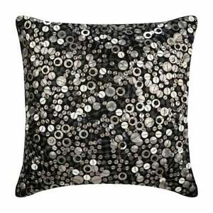 """Luxury Silk Large Pillow Cover 26""""x26"""" Black, Dotted Sequins - Black Night"""