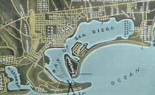 C.1910 Relief Map of San Diego and Bay, Cal. Vintage Postcard P106
