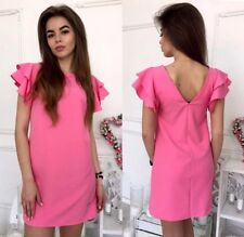 Vestito S 42 Donna Barbie Gale Rosa Fucsia Mini Abito Scollo V Top T Shirt Mare