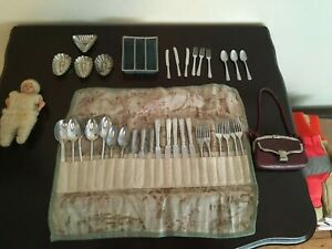 ANTIQUE GERMANY DOLL MINIATURE KITCHEN  SILVERWARE TRAY TOY PURSE TINS ETC LOT
