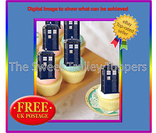 24 Dr Who Stand Up TARDIS Edible Rice Wafer Paper Cupcake Birthday Cake Toppers