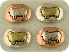 2 Hole Beads Sheep Rustic Square Ovals Barn Animal Fleece 3T Metal Sliders QTY 4