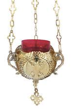 New Hanging 3 Chain Vigil Lamp with Double Headed Eagle Orthodox Church Kandili