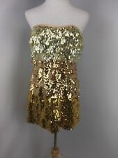 BEBE gold strapless shine tiered sequin bodycon tube top dress Medium VEGAS PROM