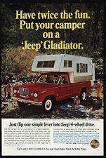 1966 JEEP GLADIATOR Red 4 Wheel Drive Pickup Truck & Camper VINTAGE AD