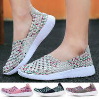 Women's Woven Flat Sneakers Casual shoes Mesh Stripe Athletic Loafers Shoes